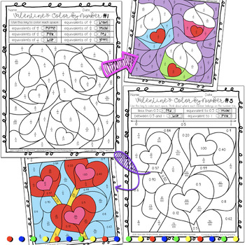 Valentine's Day Fractions and Decimals Color by Number Activity Sheets