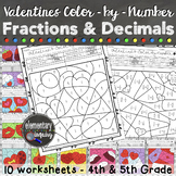 Valentine's Day Fractions and Decimals Color by Number Act
