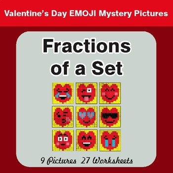 Fractions of a Set - Color-By-Number Valentine's Math Mystery Pictures