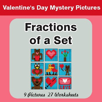 Valentine's Day: Fractions of a Set - Color-By-Number Math Mystery Pictures