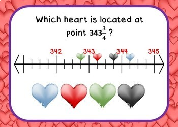 Valentine's Day Fractions on Number Lines BOOM Cards - 24 Self-checking cards!