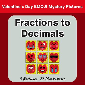 Valentine's Day: Fractions to Decimals - Color-By-Number Math Mystery Pictures