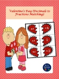 "Valentine's Day ""Fractions to Decimals"" Matching"