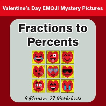 Valentine's Day: Fractions to Percents - Color-By-Number Math Mystery Pictures