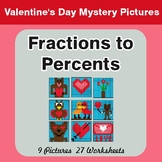 Fractions to Percents - Color-By-Number Valentine's Math M
