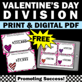 FREE Valentine's Day Math Activities, Division Task Cards 4th Grade Math Centers
