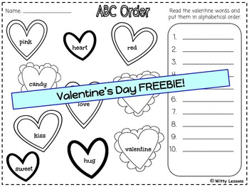 free valentine 39 s day worksheets kindergarten and first grade by witty lessons. Black Bedroom Furniture Sets. Home Design Ideas