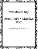 Valentine's Day Freebie Nouns, Verbs, Adjectives sort