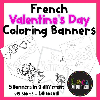 Valentine's Day French Coloring Banners