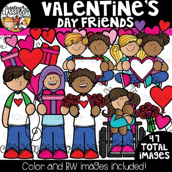 Valentine's Day Friends Clipart {Valentine's Clipart}