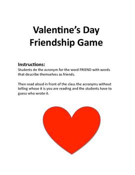 Valentine's Day Friendship Game