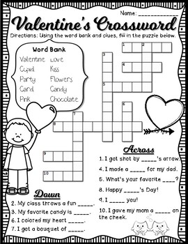 Valentine's Day Fun Activity Sheets - Word Search, Crossword, 3 Acrostic Poems