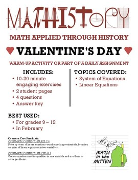 Valentine's Day Fun: Applied Math & Algebra: System of Linear Equations
