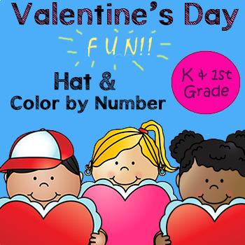 Valentine's Day Hat  & Color By Number - Kindergarten & 1st Grade