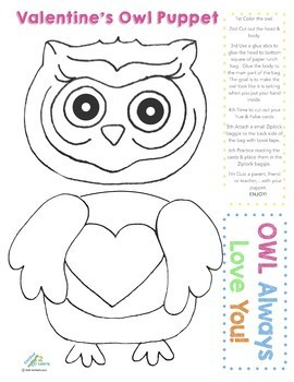 Valentine's Day Projects! Owl Puppets & Fun Facts, Crafts, Activities & Games