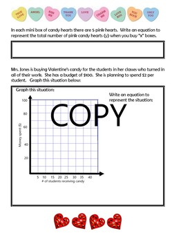 Valentine's Day Comparing Functions and Linear Relationships Activity