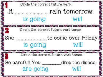 Valentine's Day Future Verb Tense Task Cards