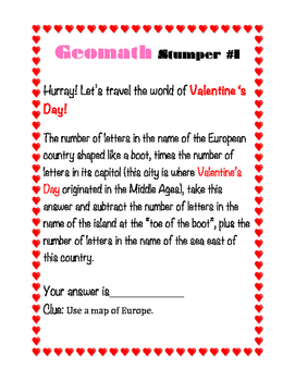 Valentine's Day GEOMATH - Geography + Math = Fun!
