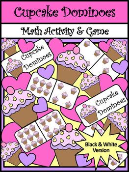 Valentine's Day Game Activities: Cupcake Dominoes Valentine's Day Activity - BW