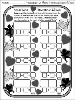 Valentine's Day Game Activities: Heart Dominoes Math Activity & Math Game