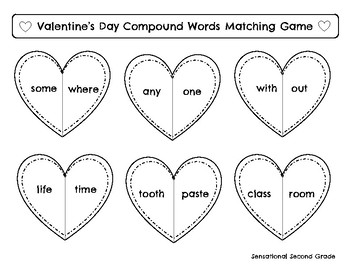 Valentine's Day Game- Compound Words Matching Game