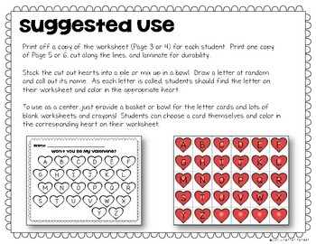 Valentine's Day Game FREEBIE - Letter Recognition Search & Color Worksheet