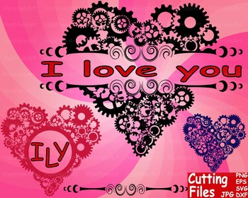 Valentine's Day Gear Heart Pattern Cutting File Set clip art love valentine -55S