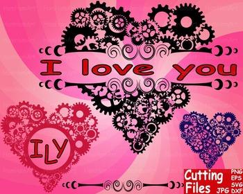 Valentine's Day Gear Heart Pattern Cutting File Set clip a