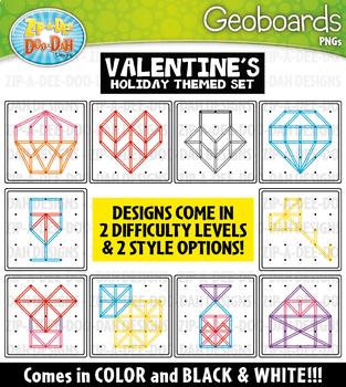 Valentine's Day Geoboards Clipart {Zip-A-Dee-Doo-Dah Designs}