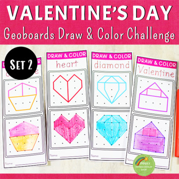 Valentine's Day Geoboards Draw and Color Pack