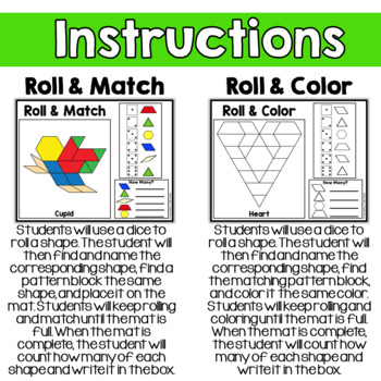 Valentine's Day Geometry Pattern Blocks Mat Roll and Match Game