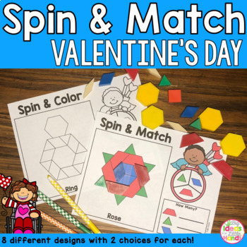 Valentine's Day Geometry Pattern Blocks Mat Spin and Match Game