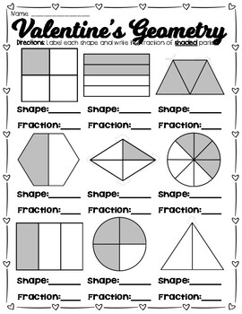 Valentine's Day Geometry and Fractions Review Pages