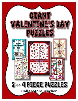 Valentine's Day Giant 4 Piece floor Puzzles ~ 5 Different Puzzles in this Set