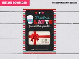 Valentine's Day Gift Card Holder, Thanks a LATTE for all you do, Gift Tags Ideas