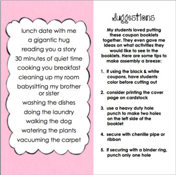 Valentine's Day Gift Coupon Booklet for Parents