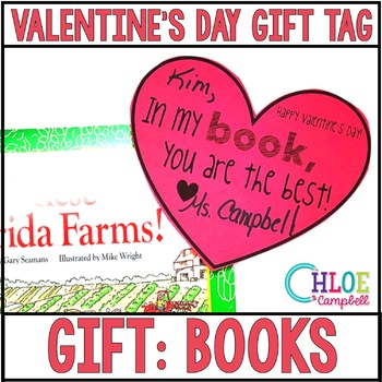 """Valentine's Day Gift Tag: Books """"In my book, you are the best!"""""""