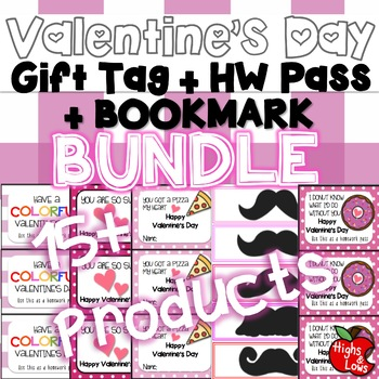 Valentine's Day Gift Tag/Homework Pass/Bookmark BUNDLE