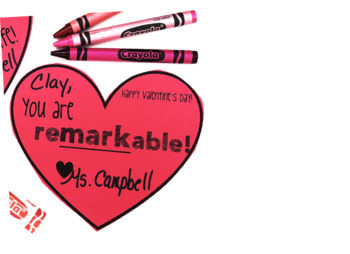 "Valentine's Day Gift Tag: Markers ""You are remarkable!"""