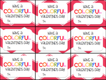 Valentine's Day Gift Tag and Homework Pass (Have a Colorful Valentine's Day)
