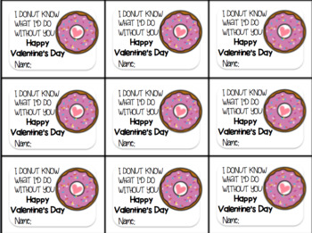 Valentine's Day Gift Tag and Homework Pass-I DONUT know what I'd do without you