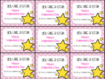 Valentine's Day Gift Tag and Homework Pass (You are a Star)