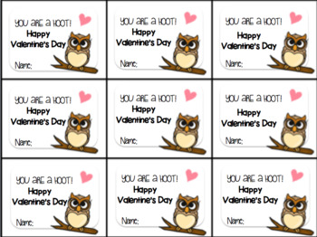 Valentine's Day Gift Tag and Homework Pass-You are a hoot!