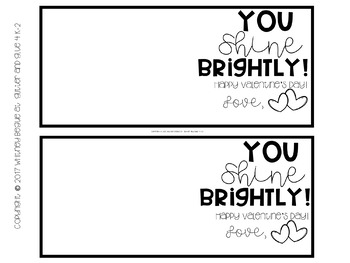 Valentine's Day Gift Tags- You Shine Brightly!