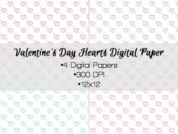Valentine's Day Glitter Hearts Digital Paper Freebie