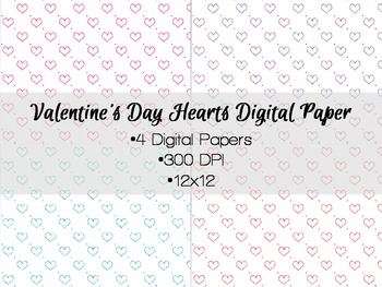Valentine's Day Glitter Hearts Digital Paper Freebie