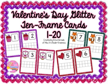 Valentine's Day Glitter Ten-Frame Cards #'s 1-20