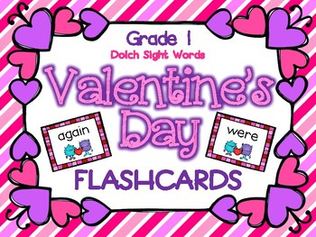 Valentine's Day Grade 1 Dolch Sight Word Flashcards