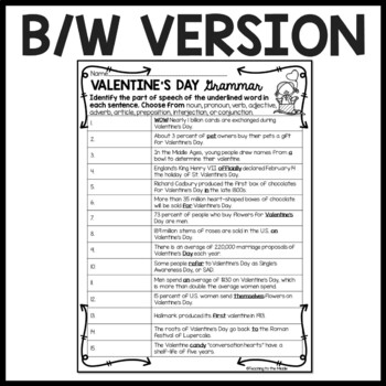 Valentine's Day Grammar Identification Worksheet; Parts of Speech