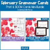 Valentine's Day Grammar Print Task Cards & BOOM Cards BUND